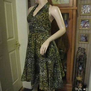 Cato Green & Brown Halter Dress size 8